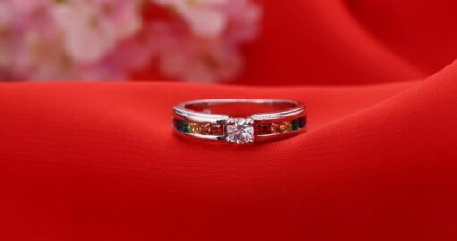 ring, Colorful Fine Crystal 925 Sterling Silver Ring