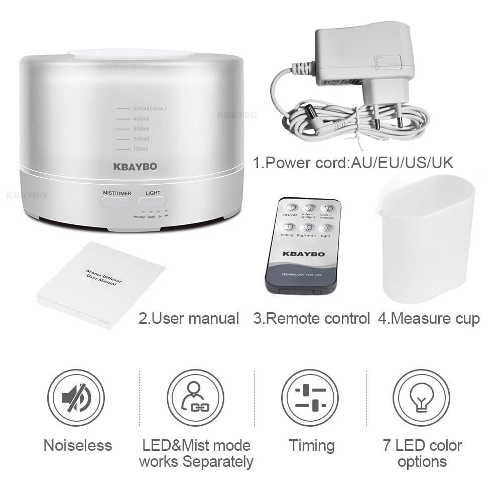KBAYBO Difusor del Aromatherapy del Control Remoto 7 LED Difusor Ultras/ónico del Humectador Niebla del Difusor