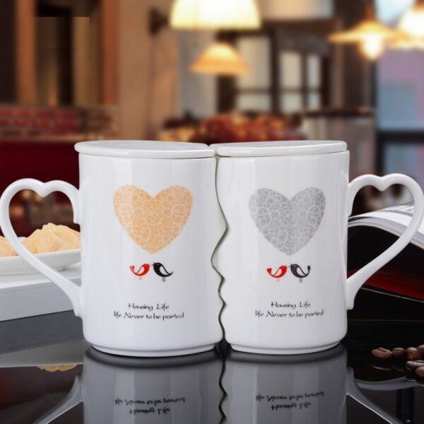 OUSSIRRO 2Pcs Set Couple Cup Ceramic Kiss Mug Valentine s Day Wedding Birthday Gift L2105 1