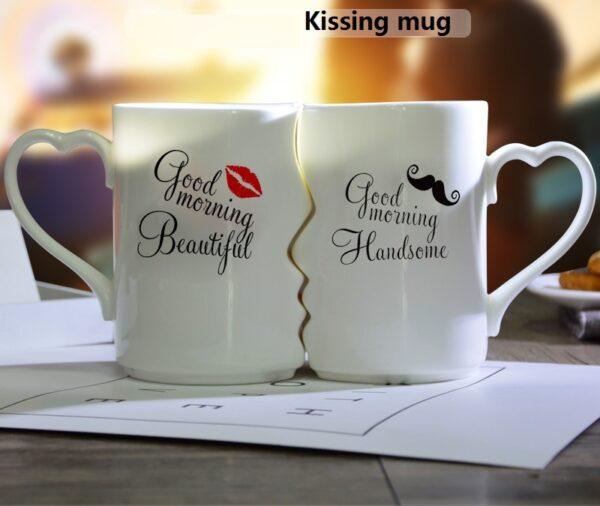 OUSSIRRO 2Pcs Set Couple Cup Ceramic Kiss Mug Valentine s Day Wedding Birthday Gift L2105 2