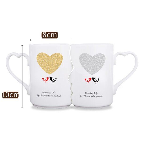 2Pcs / Setha Ceramic Couple Kiss Mug