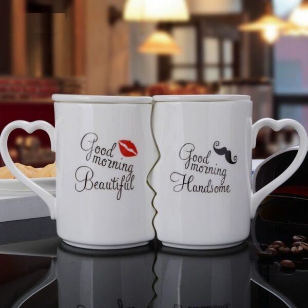 OUSSIRRO 2Pcs Set Couple Cup Ceramic Kiss Mug Valentine s Day Wedding Birthday Gift