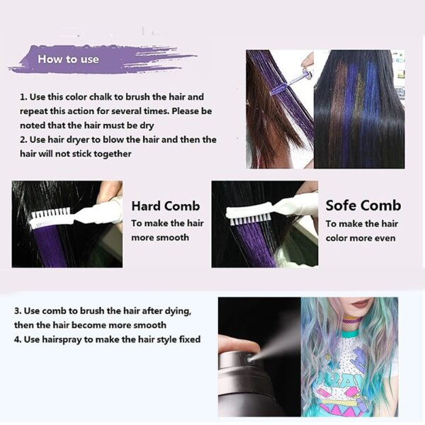 13 Colors One off Hair Color Dye Temporary Non toxic DIY Hair Color Mascara Washable One 5