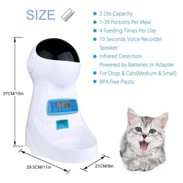 3L Automatic Pet Food Feeder With Voice Recording Pets food Bowl For Medium Small Dog Cat 13
