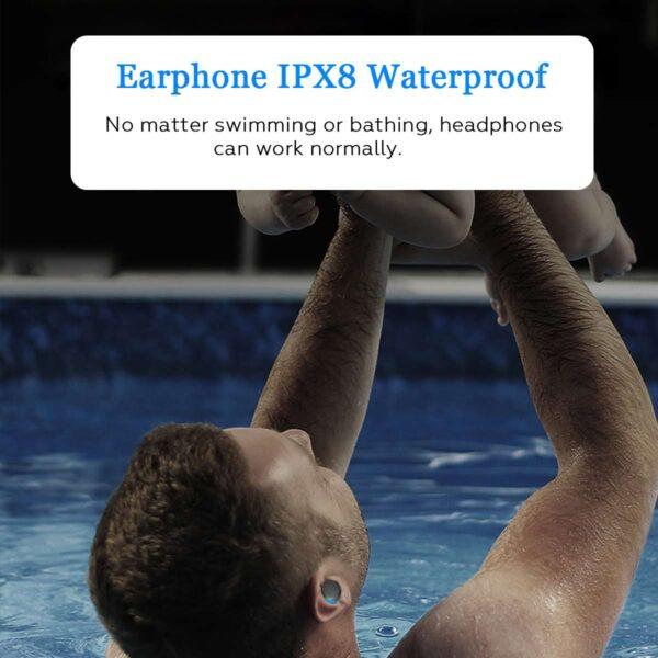 Bluetooth 5 0 Ture Wireless Earphones Mini TWS Earbuds Cordless Twins Stereo IPX8 Sport Swimming Headset 2