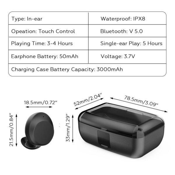 Bluetooth 5 0 Ture Wireless Earphones Mini TWS Earbuds Cordless Twins Stereo IPX8 Sport Swimming Headset 4