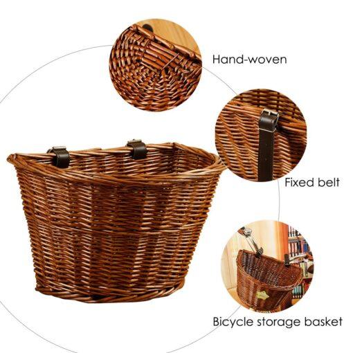 Wicker Front Handlebar Bike Basket, Wicker Bike Basket
