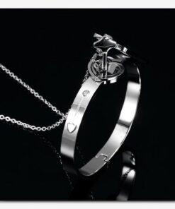Heart Lock armbånd & nøkkelring, Heart Lock armbånd & amp; Nøkkel halskjede