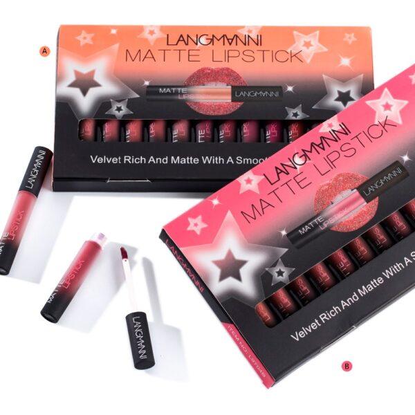 Maquiage brand 12pcs lot lip kit matte Lipstick Waterproof Nutritious Velvet lip stick Red Tint Nude 4 1