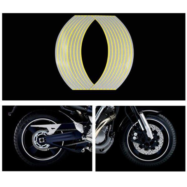 16 Strips Motorcycle Car Wheel Tire Stickers Reflective Rim Tape Motorbike Auto Decals For Yamaha Suzuki 3