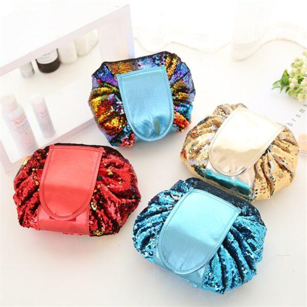 2018 Mermaid Sequins design Cosmetic Bag Drawstring Makeup Case Women Travel Make Up Organizer Storage Pouch