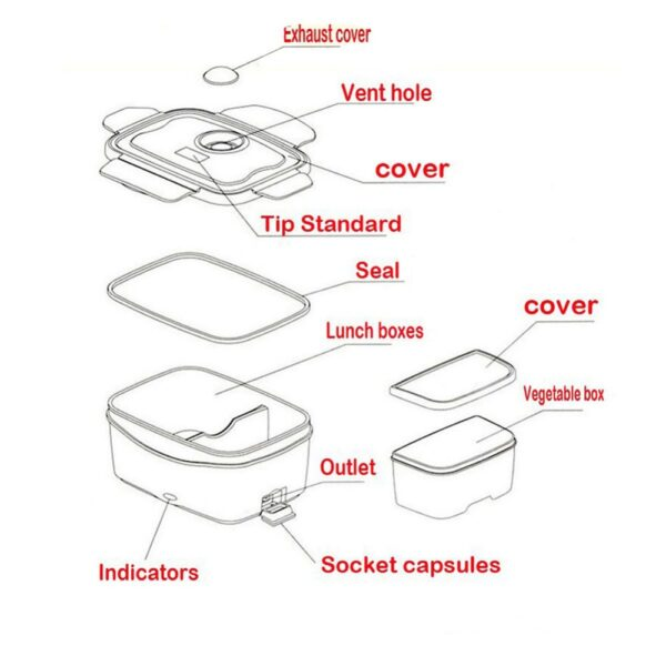 220V 110V Lunch Box Food Container Portable Electric Heating Food Warmer Heater Rice Container Dinnerware Sets 5
