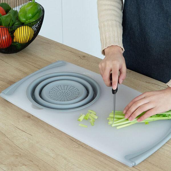 3 IN 1 Multi function Sink Drain Basket Cutting Board Filter Chopping Blocks Meat Vegetable Fruit 1