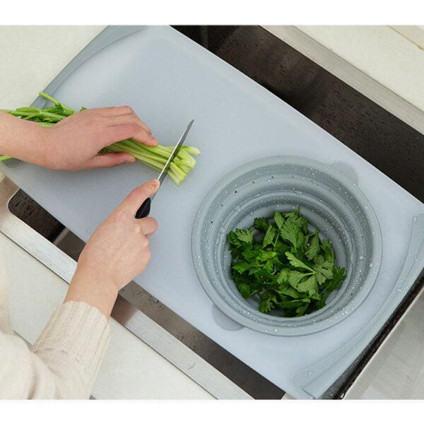 3 IN 1 Multi function Sink Drain Basket Cutting Board Filter Chopping Blocks Meat Vegetable Fruit 2