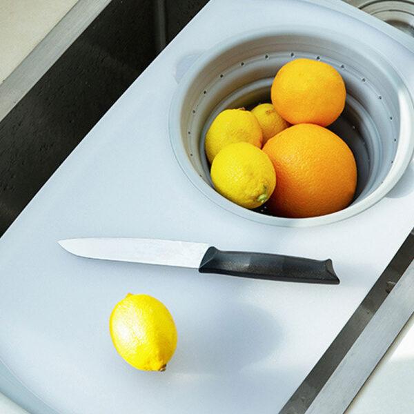 3 IN 1 Multi function Sink Drain Basket Cutting Board Filter Chopping Blocks Meat Vegetable Fruit 3
