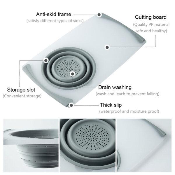 3 IN 1 Multi function Sink Drain Basket Cutting Board Filter Chopping Blocks Meat Vegetable Fruit 5