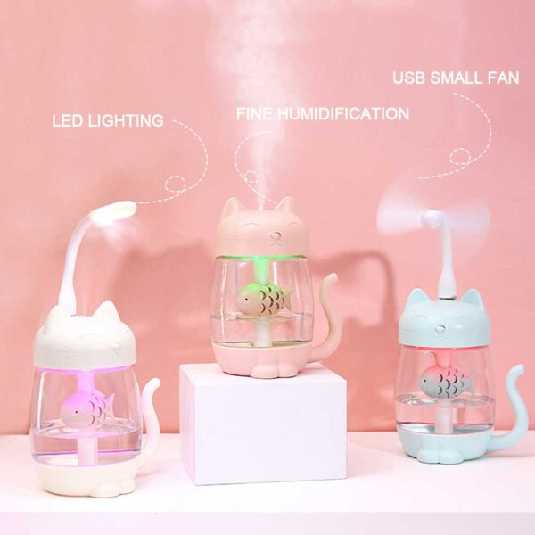 3 in 1 350ML USB Cat Air Humidifier Ultrasonic Cool Mist Adorable Mini Humidifier With LED 1