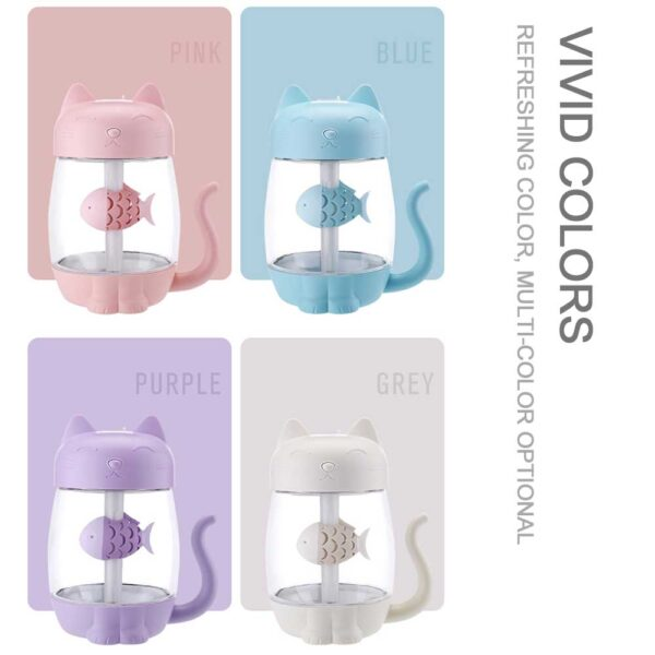 3 in 1 350ML USB Cat Air Humidifier Ultrasonic Cool Mist Adorable Mini Humidifier With LED 2