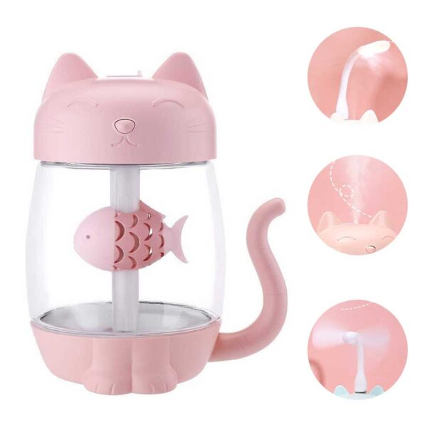 3 in 1 350ML USB Cat Air Humidifier Ultrasonic Cool Mist Adorable Mini Humidifier With LED 4