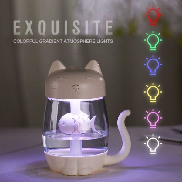 3 in 1 350ML USB Cat Air Humidifier Ultrasonic Cool Mist Adorable Mini Humidifier With LED
