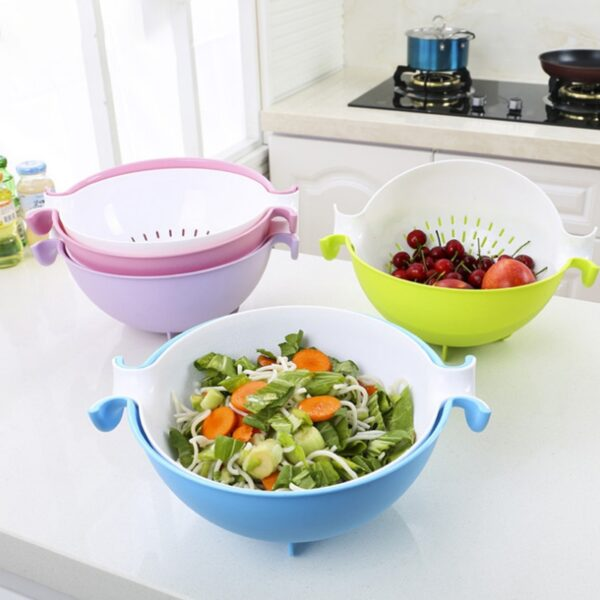 4 Colors Multifunctional Washing Vegetables And Fruit Draining Basket Detachable Double Layer Drain Baskets Storage Salad 1