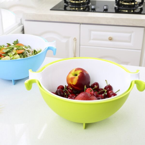 4 Colors Multifunctional Washing Vegetables And Fruit Draining Basket Detachable Double Layer Drain Baskets Storage Salad 4