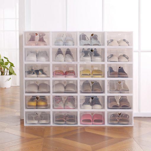 6PCS Set Thickened flip shoes transparent Drawer Case Plastic Shoe Boxes Stackable Box storage box shoe 1 510x510 1