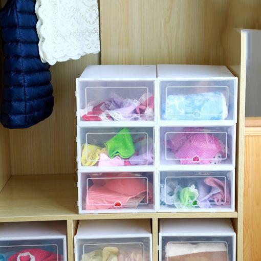6PCS Set Thickened flip shoes transparent Drawer Case Plastic Shoe Boxes Stackable Box storage box shoe 3 510x510 1