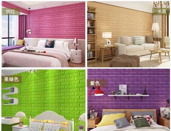 70 77 3D Brick Wall Stickers DIY Self Adhensive Decor Foam Waterproof Wall Covering Wallpaper For 3