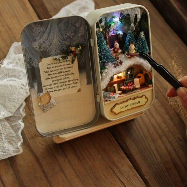 Box Theatre Nostalgic Theme Miniature Scene Wooden Miniature Puzzle Toy DIY Doll House Furnitures Countryside Notes 1