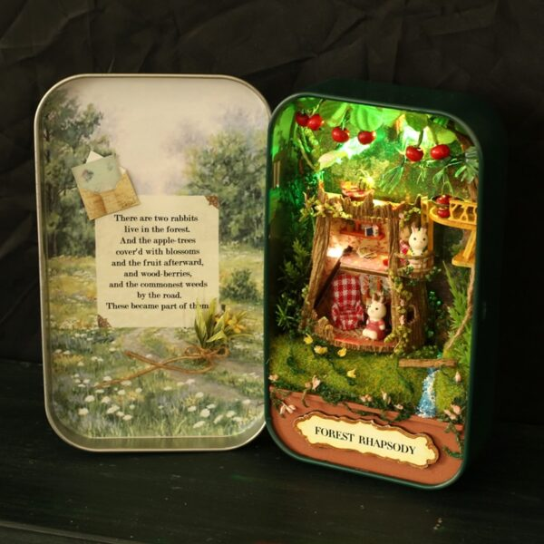 Box Theatre Nostalgic Theme Miniature Scene Wooden Miniature Puzzle Toy DIY Doll House Furnitures Countryside Notes 2