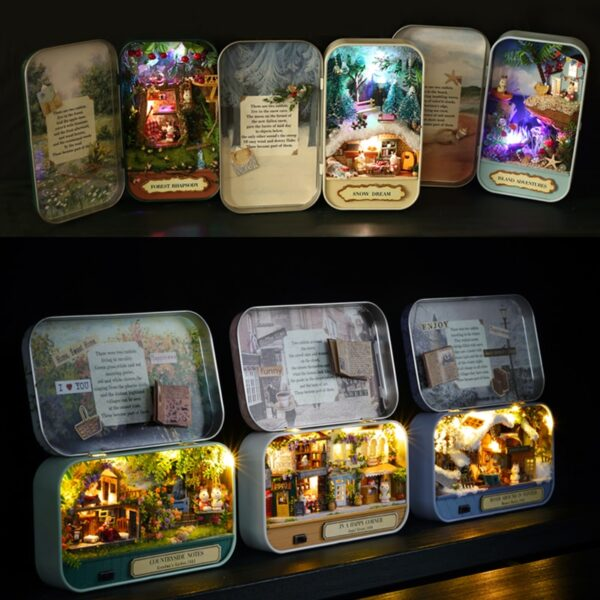 Box Theatre Nostalgic Theme Miniature Scene Wooden Miniature Puzzle Toy DIY Doll House Furnitures Countryside Notes