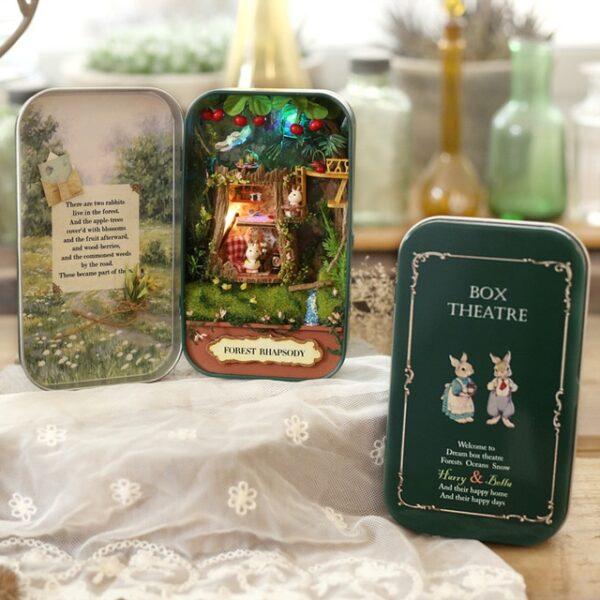 Box Theatre Nostalgic Theme Miniature Scene Wooden Miniature Puzzle Toy DIY Doll House Furnitures Countryside