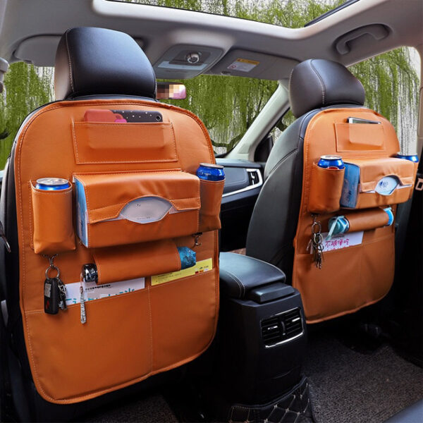 Car Organizer Bag Seat Back Storage Stowing Tidying With Hanging Table Pocket Protector Travel PU Leather 3 1.jpg 640x640 3 1