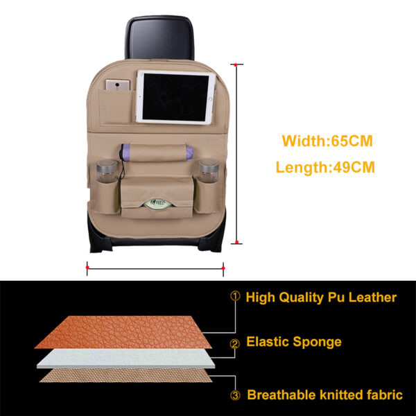 Car Organizer Bag Seat Back Storage Stowing Tidying With Hanging Table Pocket Protector Travel PU Leather 4