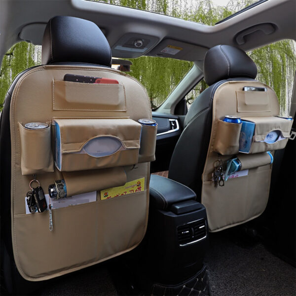Car Organizer Bag Seat Back Storage Stowing Tidying With Hanging Table Pocket Protector Travel PU Leather 5 1