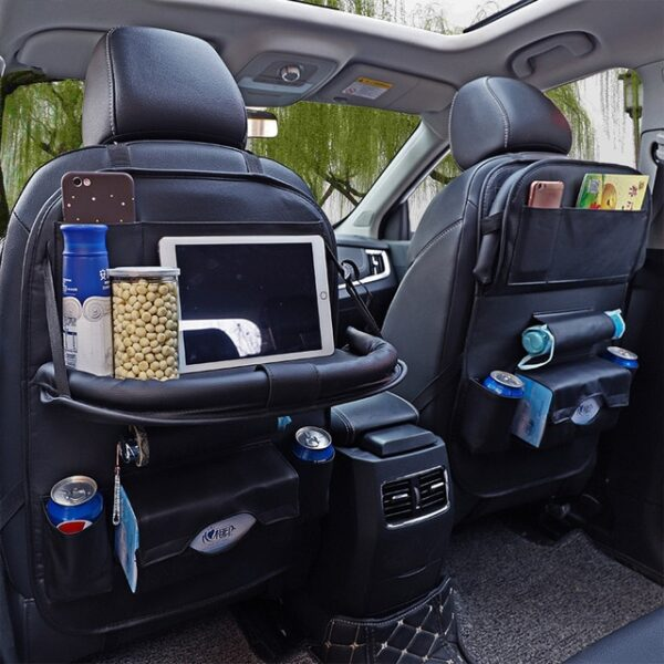 Car Organizer Bag Seat Back Storage Stowing Tidying With Hanging Table Pocket Protector Travel PU Leather 5.jpg 640x640 5