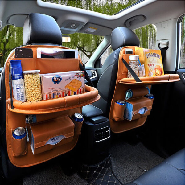 Car Organizer Bag Seat Back Storage Stowing Tidying With Hanging Table Pocket Protector Travel PU Leather 6 1.jpg 640x640 6 1