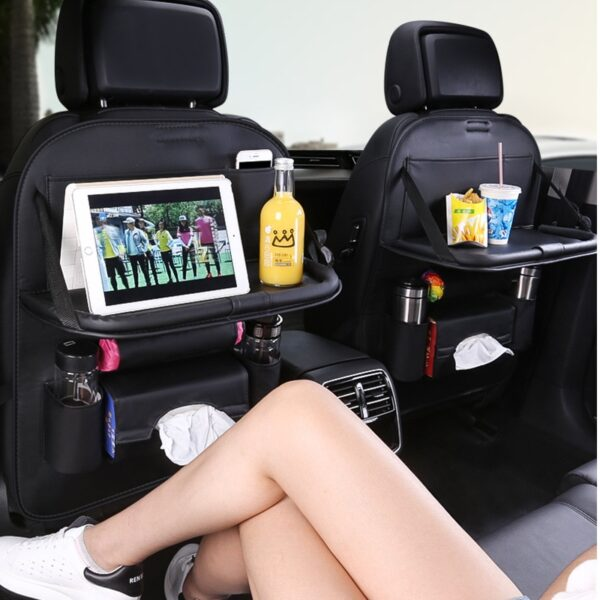 Car Organizer Bag Seat Back Storage Stowing Tidying With Hanging Table Pocket Protector Travel PU Leather