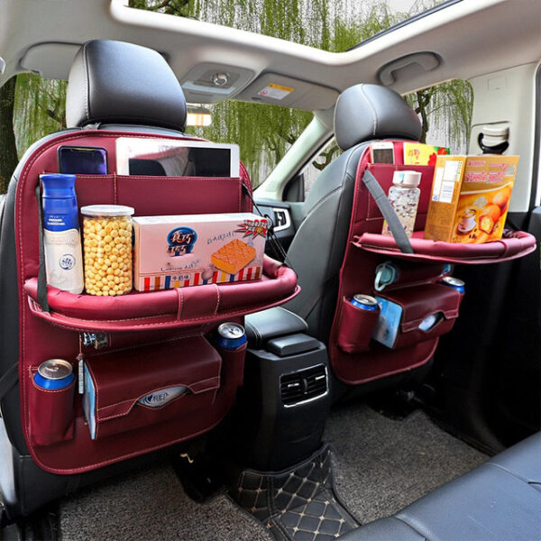 Car Organizer Bag Seat Back Storage Stowing Tidying With Hanging Table Pocket Protector Travel PU Leather 8 1.jpg 640x640 8 1