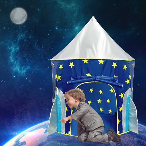 Children s Tent Folding Baby House Star Rocket Castle Projection Rocket Ship Play Tent Spaceship Playhouse 1