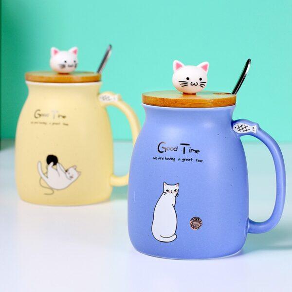 Creative color cat heat resistant Mug cartoon with lid 450ml cup kitten coffee ceramic mugs children 1