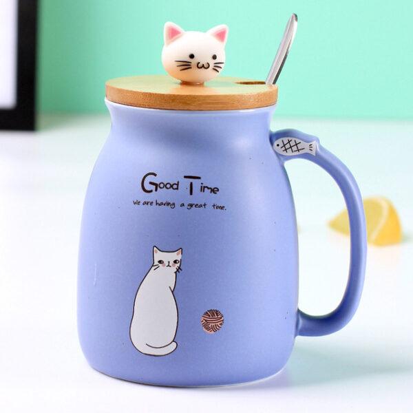 Creative color cat heat resistant Mug cartoon with lid 450ml cup kitten coffee ceramic mugs children 1.jpg 640x640 1