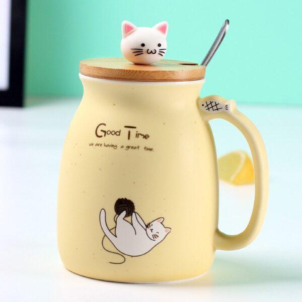 Creative color cat heat resistant Mug cartoon with lid 450ml cup kitten coffee ceramic mugs children 2