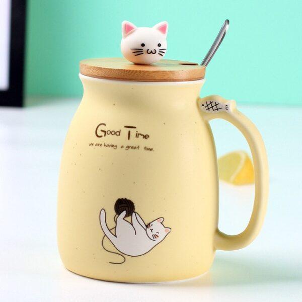 Creative color cat heat resistant Mug cartoon with lid 450ml cup kitten coffee ceramic mugs children 2.jpg 640x640 2