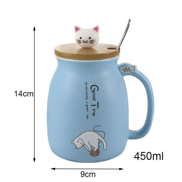 Creative color cat heat resistant Mug cartoon with lid 450ml cup kitten coffee ceramic mugs children 3
