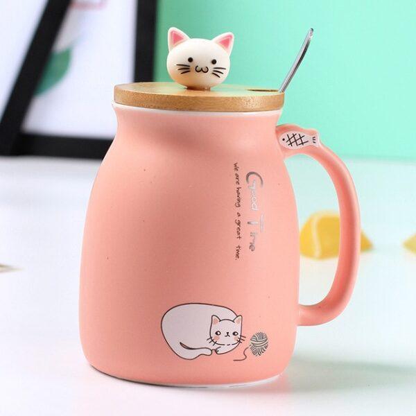 Creative color cat heat resistant Mug cartoon with lid 450ml cup kitten coffee ceramic mugs children 3.jpg 640x640 3