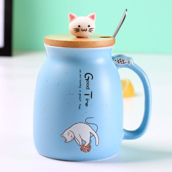 Creative color cat heat resistant Mug cartoon with lid 450ml cup kitten coffee ceramic mugs children 4
