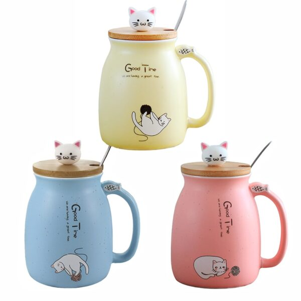 Creative color cat heat resistant Mug cartoon with lid 450ml cup kitten coffee ceramic mugs children 5