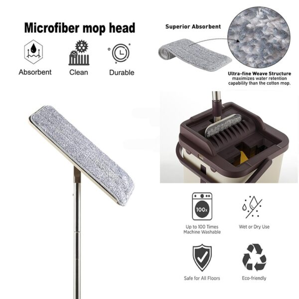 Flat Squeeze Mop and Bucket Hand Free Wringing Floor Cleaning Mop Microfiber Mop Pads Wet or 1